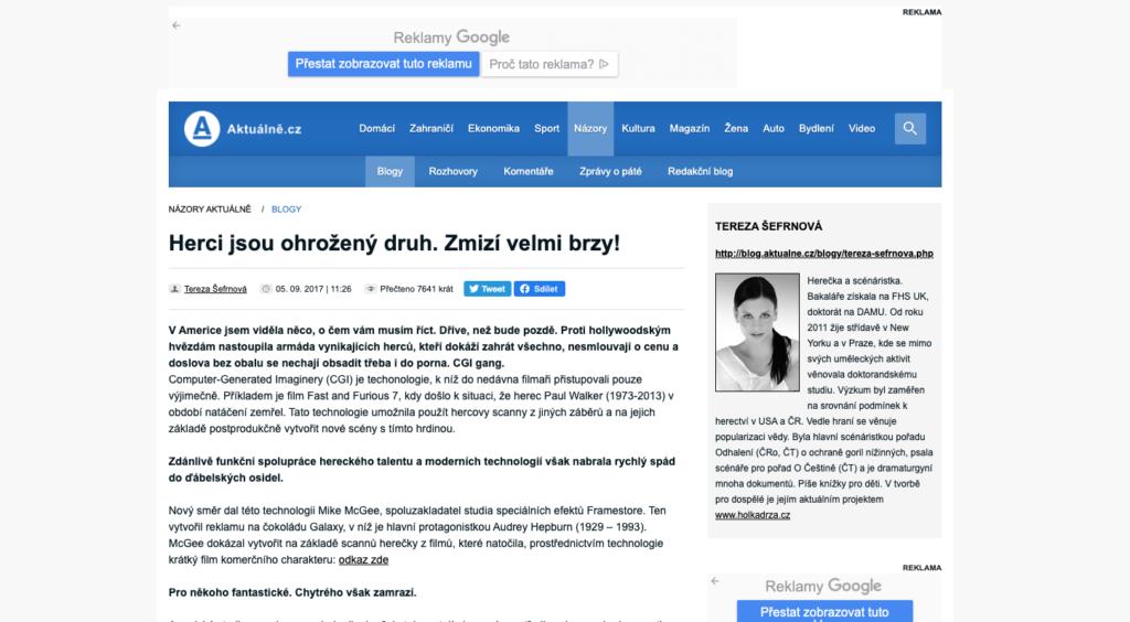 tereza šefrnová aktualne.cz